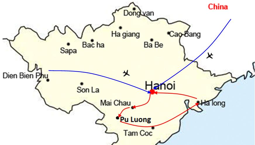 Northern Vietnam Map.Northern Vietnam Trekking